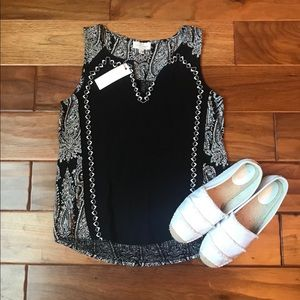 Lucky Brand Black & White Embroidered Tank Top